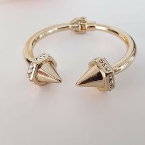Aqua Bracelet New Gold Open Hinge Bangle Spikes Ed